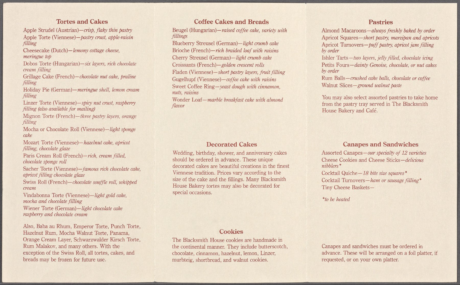 The blacksmith house bakery caf menus whats on the menu for Canape menu prices